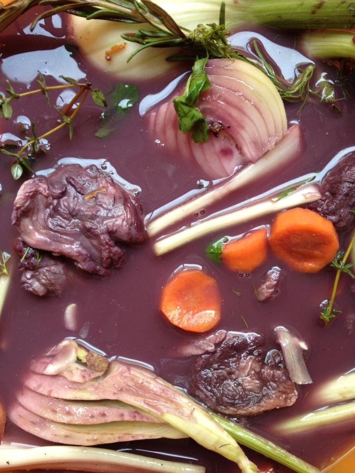 Vanmiddag eerst het vlees in de marinade uit de koelkast gehaald.
