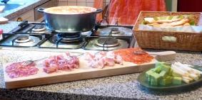 De vleesplank en de polpette al sugo, het enige warme gerecht